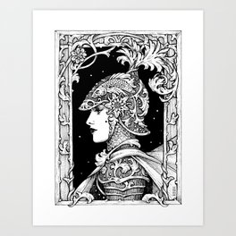 Ink Knight Maiden Art Print