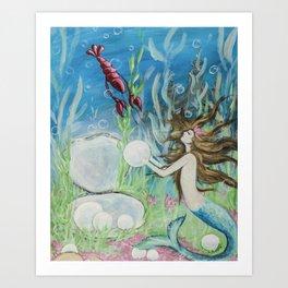 Clotiles Mermaid Encounter Art Print