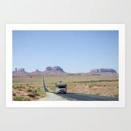 Monument Valley road trip Art Print