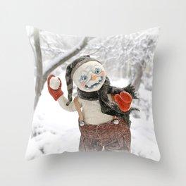 Rucus Studio Snow Day! Snowman Throw Pillow