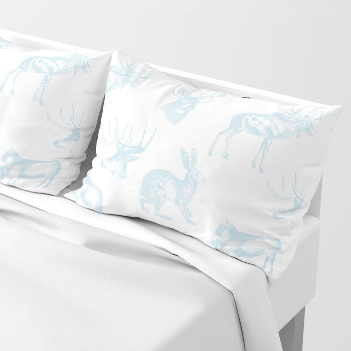 Woodland Critters in Winter Blue Pillow Sham