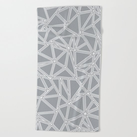 Shattered Ab Grey and White  Beach Towel