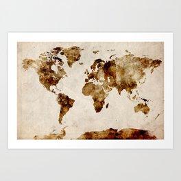 WORLD Coffee painting Art Print