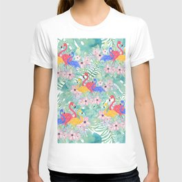 Tropical pink green watercolor floral colorful flamingo bird T-shirt