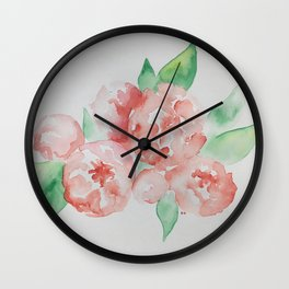 Pretty Peonies Wall Clock