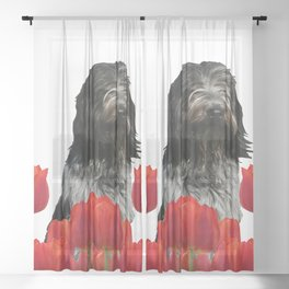 Schapendoes Dog with spring red tulips Sheer Curtain