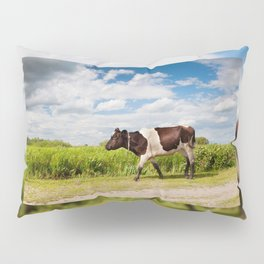 Calf walking in natural landscape Pillow Sham