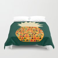 pineapple Duvet Covers featuring Pineapple by Picomodi