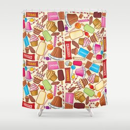 sweets seamless pattern (lollipop, candy cane, pudding in dish, birthday cake with candles) Shower Curtain