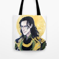 enerjax Tote Bags featuring Loki of Asgard by enerjax