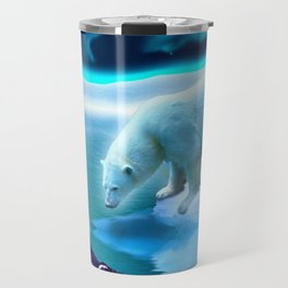 The Encounter - A Polar Bear & Penguin Fantasy Travel Mug