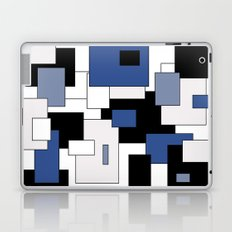 Squares -  gray, blue, black and white. Laptop & iPad Skin