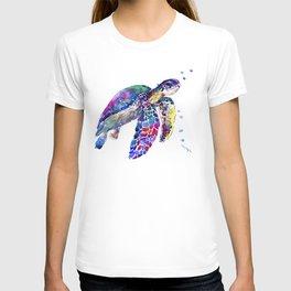 Sea Turtle Rainbow Colors, turtle design illustration artwork animals T-shirt