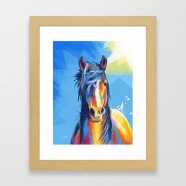 Horse Beauty - colorful animal portrait Framed Art Print