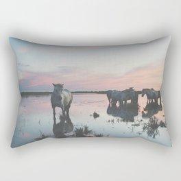 Camargue Horses IV Rectangular Pillow