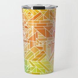 Bright Gradient (Hot Pink Orange Green Yellow Blue) Geometric Pattern Print Travel Mug