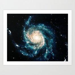 Ocean Blue Teal Spiral Galaxy Art Print