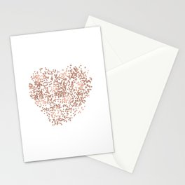 Rose Gold Glam Confetti Heart Stationery Cards