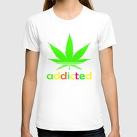wiz khalifa T-shirts featuring Addicted Marijuana Plant Funny T-Shirt 420 Cannabis Weed Pot Dope Stoner Khalifa by arul85