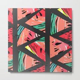 Black Watermelon Pattern Metal Print