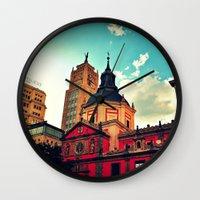 madrid Wall Clocks featuring Madrid Sky by Melanie Ann