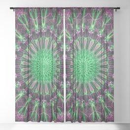 Mandala in purple and neon green Sheer Curtain