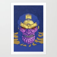 thanos Art Prints featuring Behold, Thanos! by Digital.Soapbox