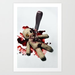 Sack Voodoo doll and bloody knife Art Print