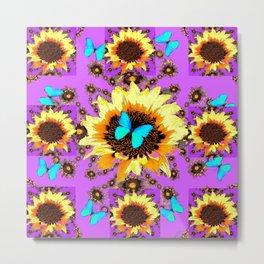 Yellow Sunflowers Blue Butterflies Purple Patterns Metal Print