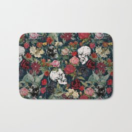 Distressed Floral with Skulls Pattern Bath Mat