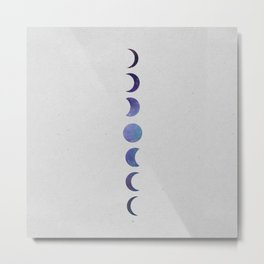 Galaxy Moon Phases Metal Print