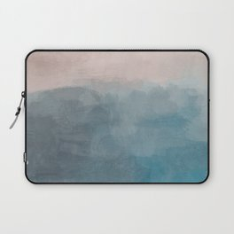 Turquoise Aqua Teal Blue Coral Rose Pink Abstract Painting, Modern Wall Art, Ocean Sunset Sand Beach Laptop Sleeve