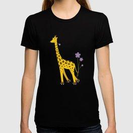 Yellow Funny Roller Skating Giraffe T-shirt