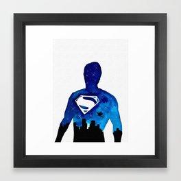 Super Man Double Exposure Framed Art Print