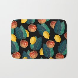 Apples And Lemons Black Bath Mat