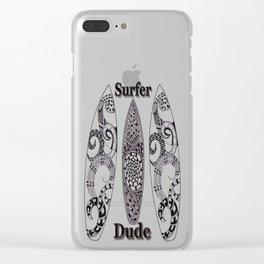 Surfer Dude Zentangle Art Clear iPhone Case