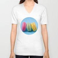 macaron V-neck T-shirts featuring Macaron Series - Blue by Zayda Barros