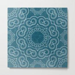 Boho Damask Horn Pattern Metal Print