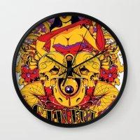 rockabilly Wall Clocks featuring Sinful rockabilly  by Tshirt-Factory