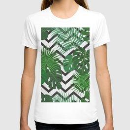 tropical leaf on zig zag pattern T-shirt