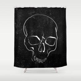 Anti Capitalism Black Skull Political Art Print Shower Curtain