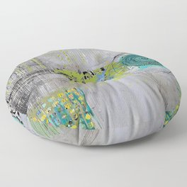 Teal & Lime Round Abstract Art Collage Floor Pillow