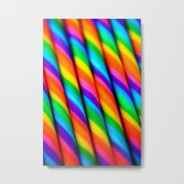 Rainbow Candy : Candy Canes Metal Print