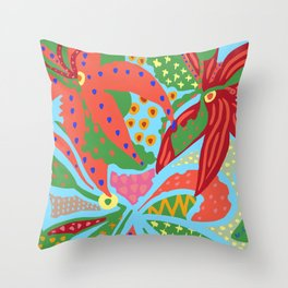 Exotic Flowers In The Glasshouse Throw Pillow