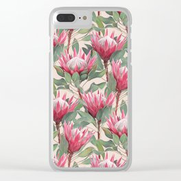 Painted King Proteas on cream Clear iPhone Case