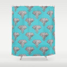 Elephant Pattern on Blue Shower Curtain