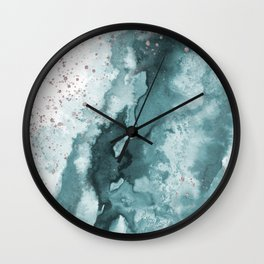 Watercolor meets Glitter - Turquoise Rose Gold - No 2 Wall Clock