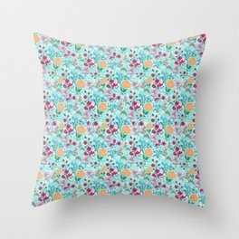Cute Pink & Blue Small Floral Mint Design Throw Pillow