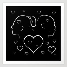 Volumetric red heart cracked. Silhouette man and woman in a quarrel. Art Print