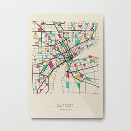 Colorful City Maps: Detroit, Michigan Metal Print